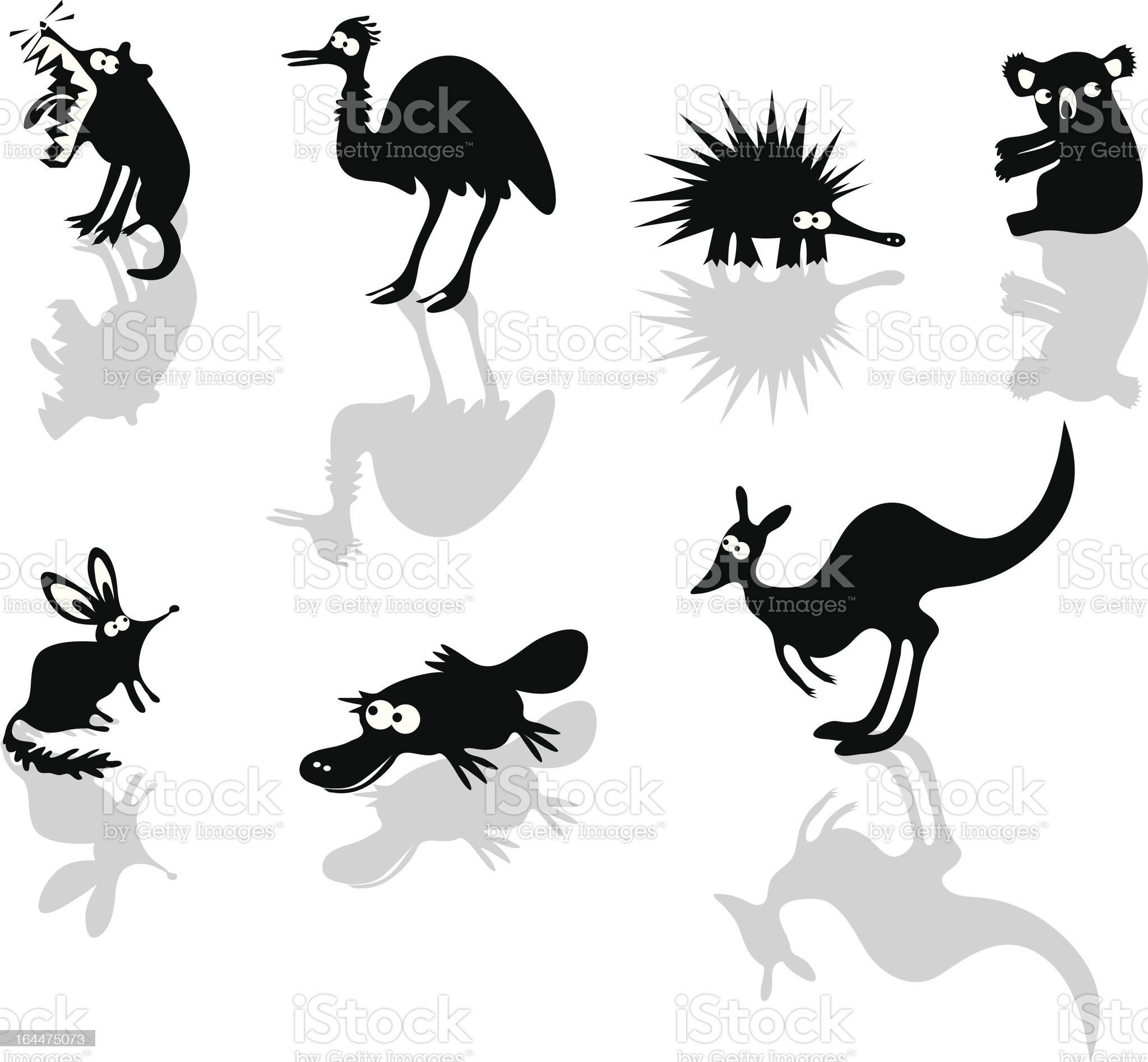 Funny Australian Animals royalty-free stock vector art
