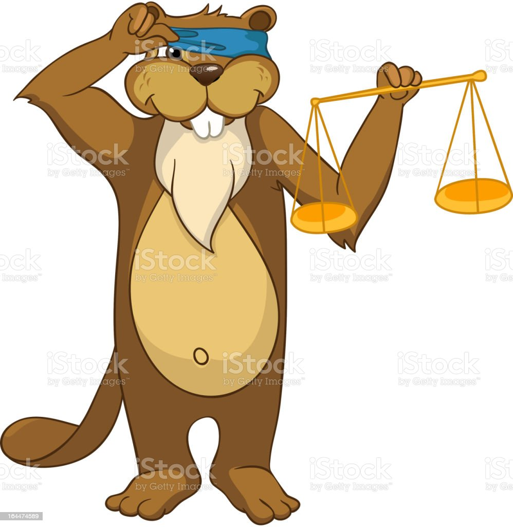 Funny Beaver vector art illustration