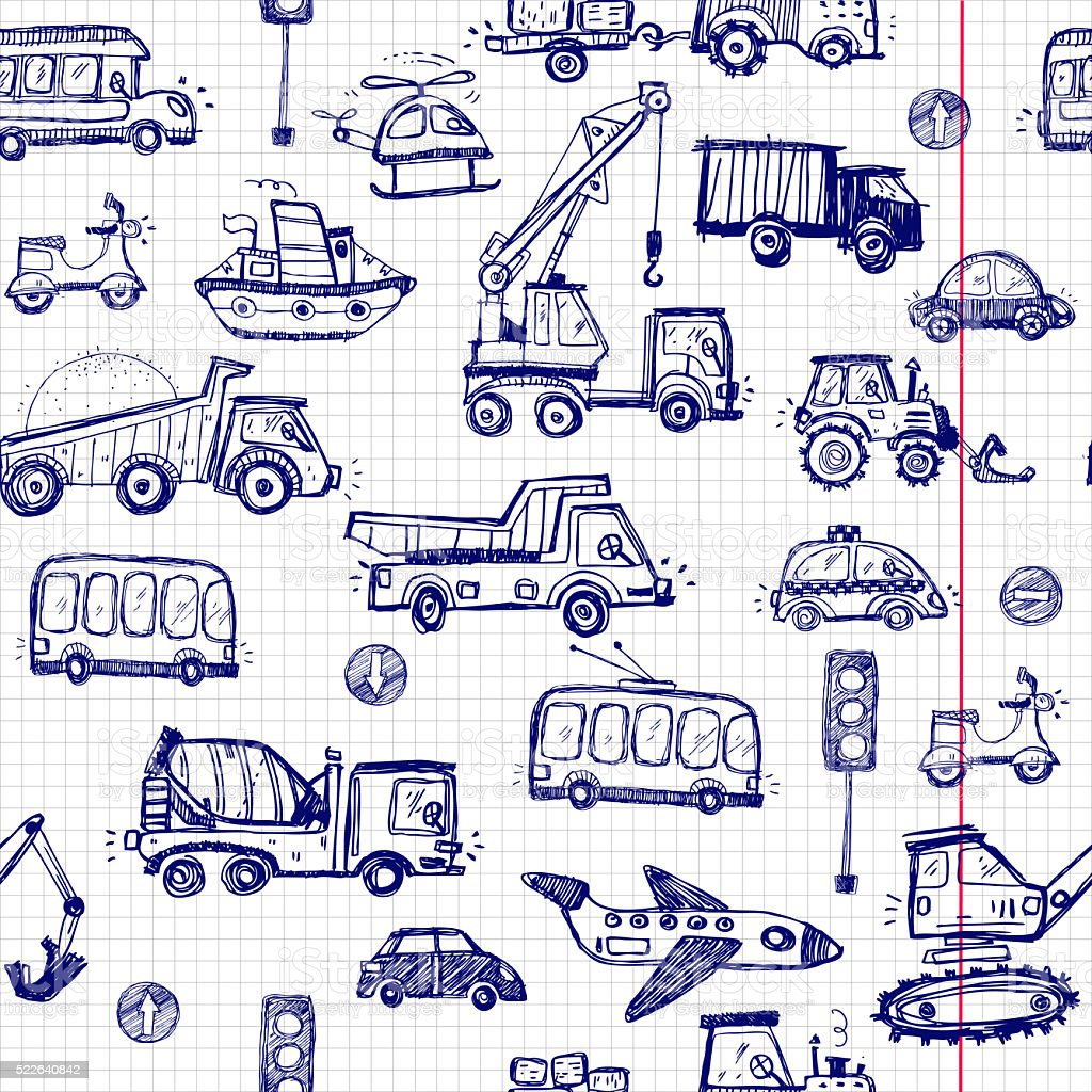 Funny Cars. kids seamless pattern texture. stock photo