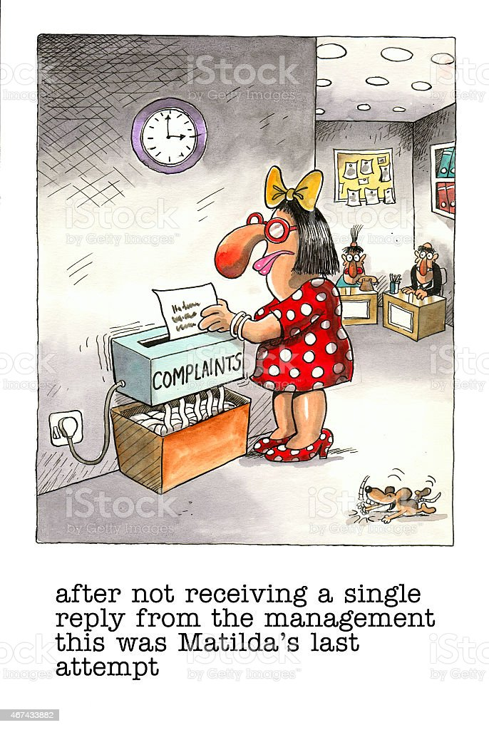Funny cartoon about office life vector art illustration