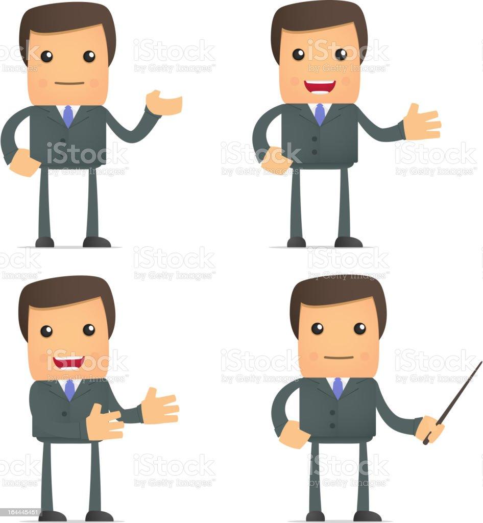 funny cartoon businessman giving presentation royalty-free stock vector art