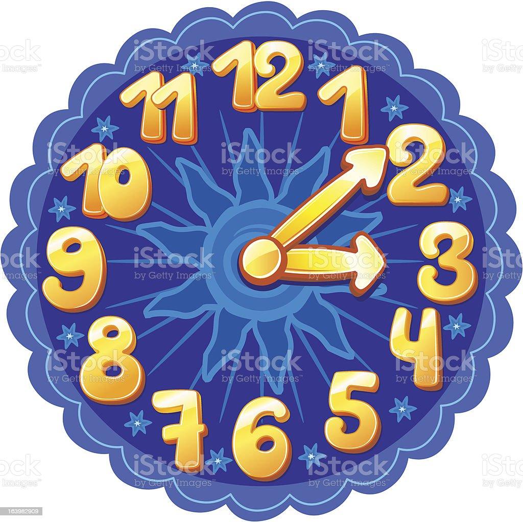 Funny cartoon clock for kids royalty-free stock vector art