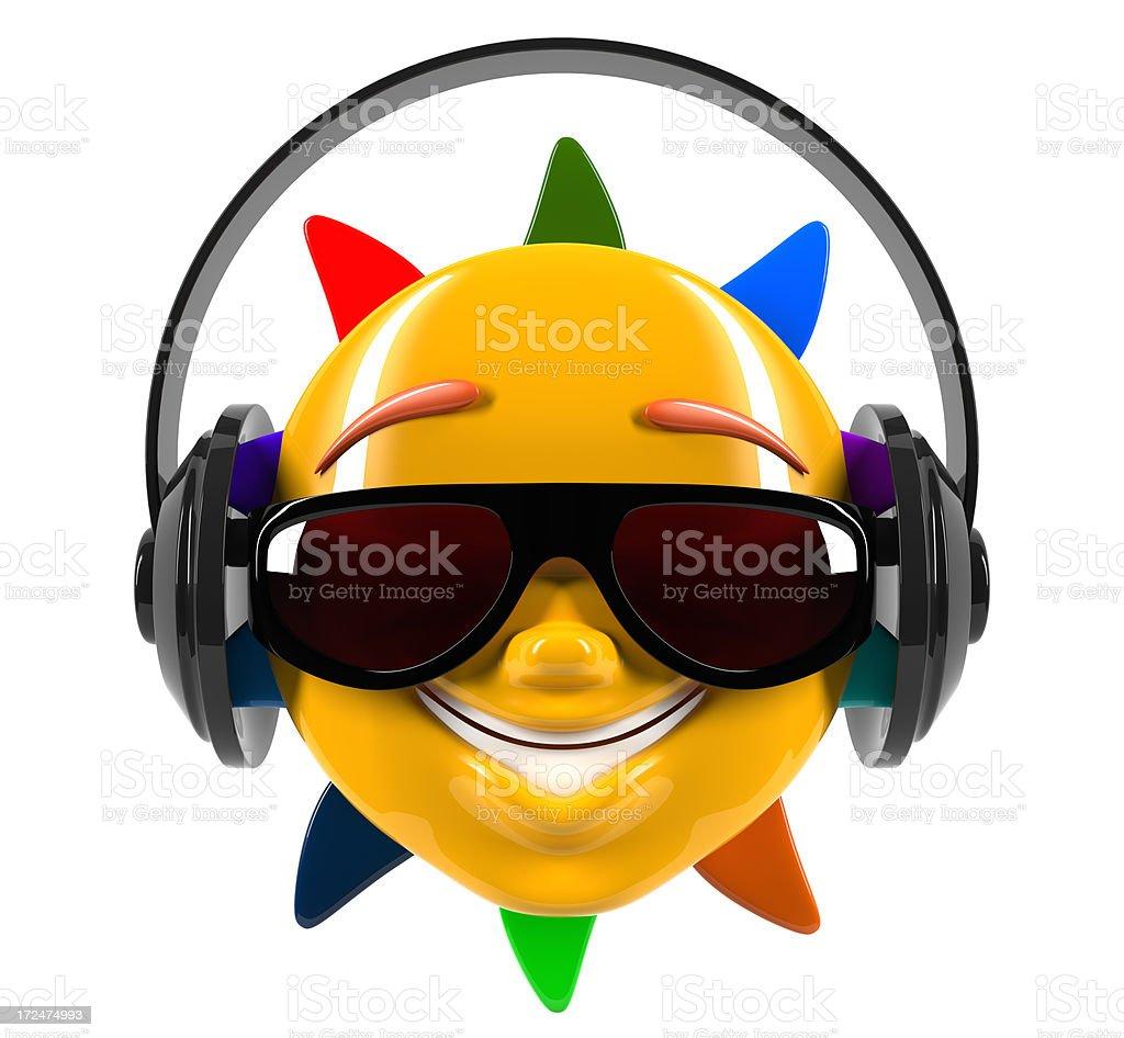 Funny cartoon smiley sun in glasses royalty-free stock vector art