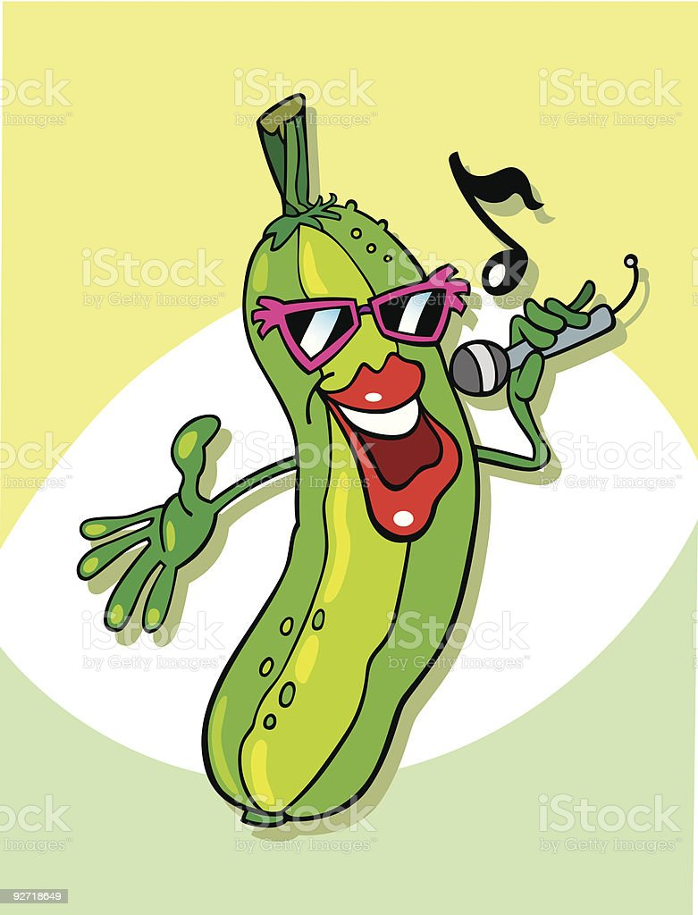 funny cucumber singing royalty-free stock vector art