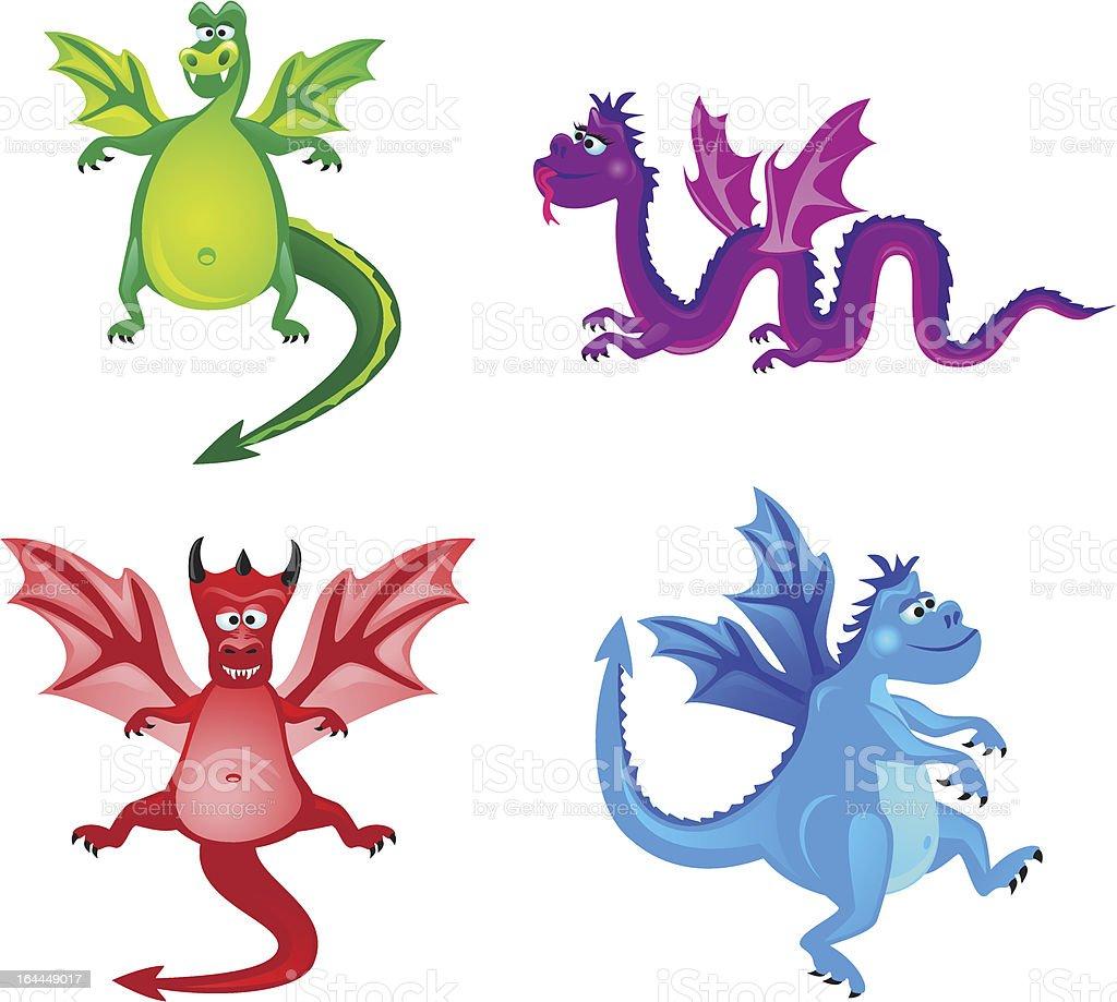 Funny dragons vector art illustration