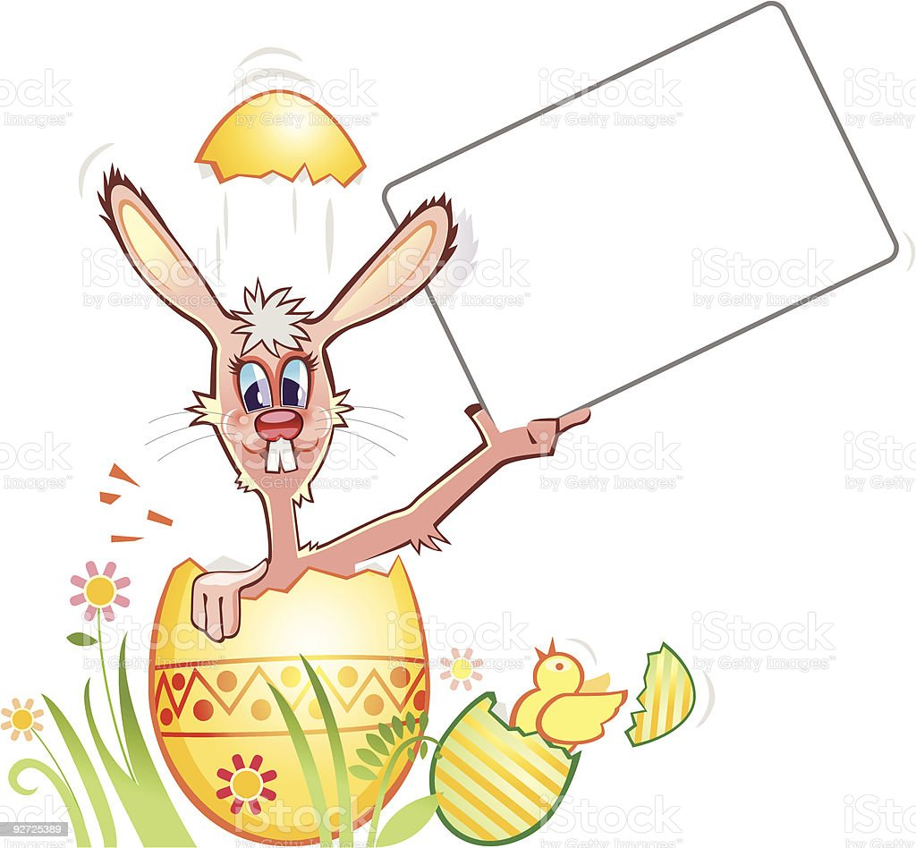Funny Easter Bunny holding a blank card vector art illustration