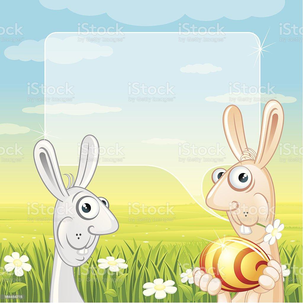 Funny Easter Bunny vector art illustration