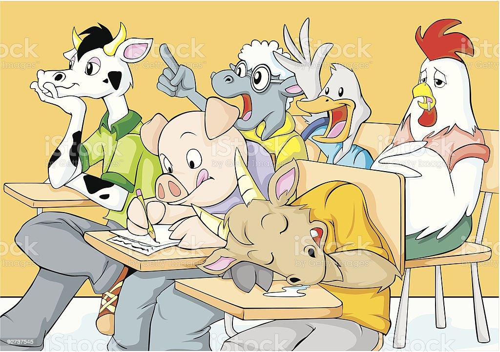 Funny Farm Classroom vector art illustration