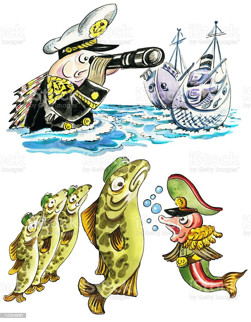 Funny fishes in navy uniform royalty-free stock vector art