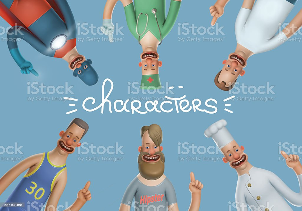 Funny Illustration male characters vector art illustration