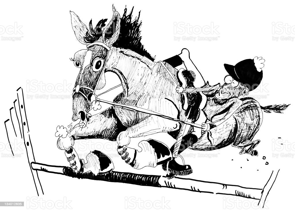 Funny ink caricature of an equestrian horse and rider vector art illustration