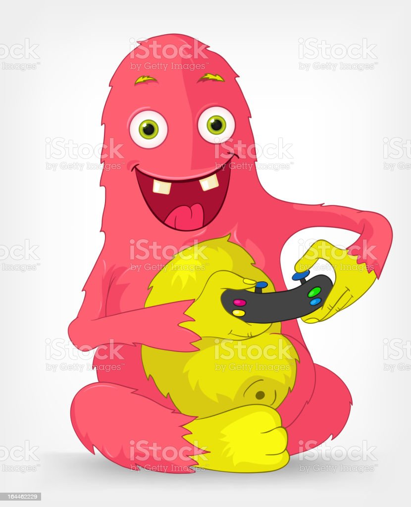 Funny Monster. Gamer. royalty-free stock vector art