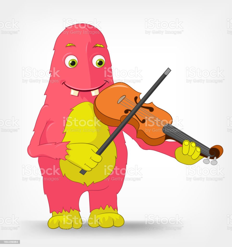 Funny Monster. Violinist. royalty-free stock vector art