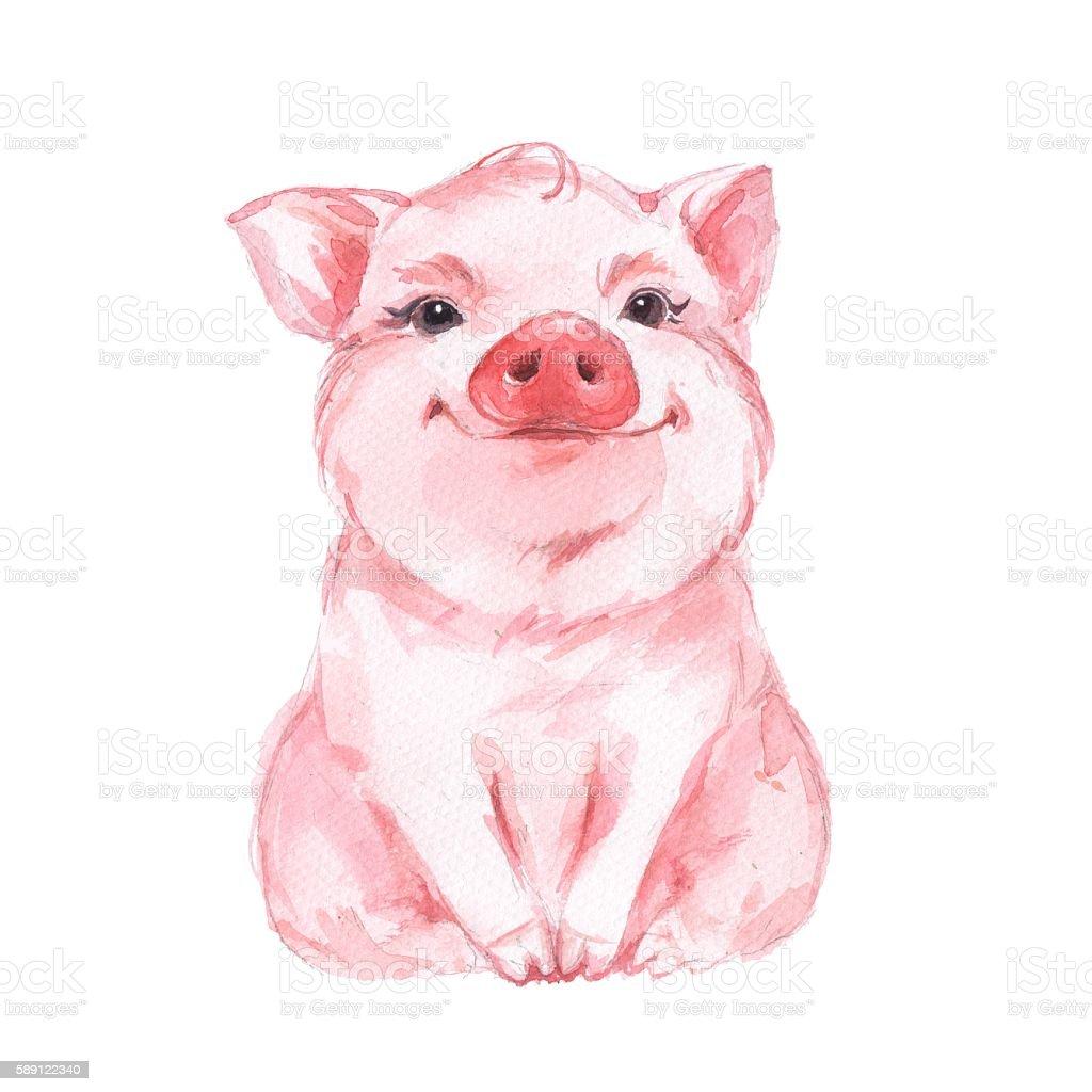 Funny pig cute watercolor illustration 1 stock vector art for Cute watercolor paintings