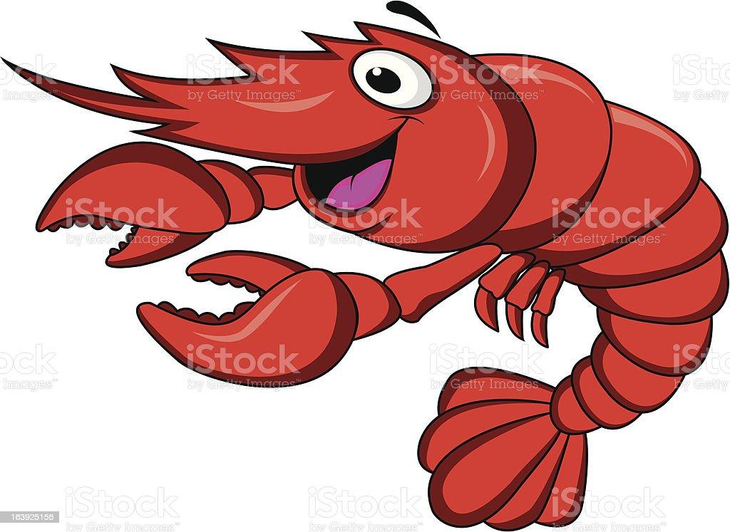 Funny shrimp cartoon vector art illustration