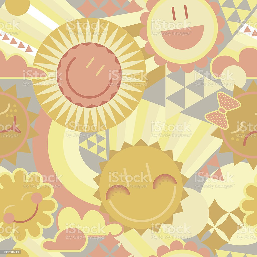 funny smiling sun in the sky seamless pattern royalty-free stock vector art