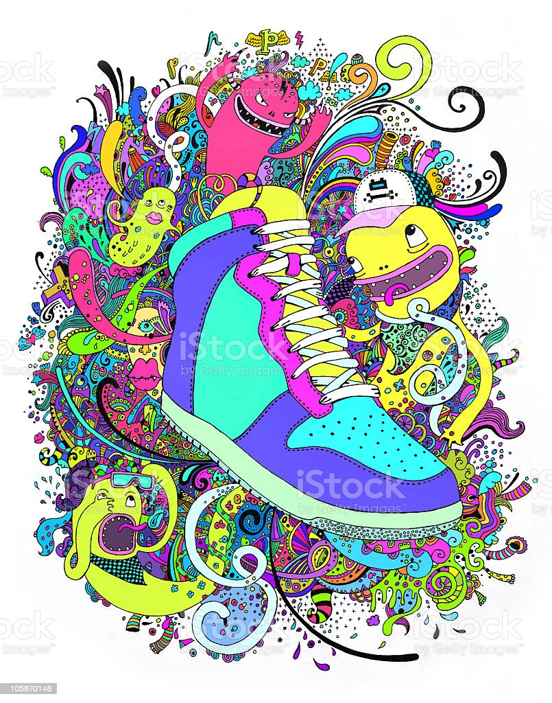 Funny sneaker royalty-free stock vector art