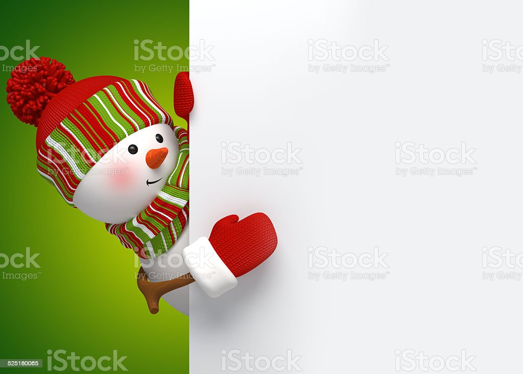 funny snowman greeting card, holiday background, 3d cartoon character illustration vector art illustration