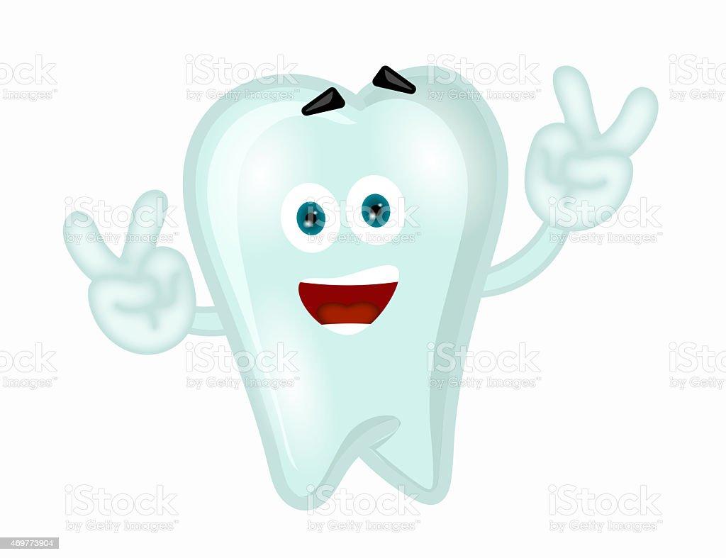 Funny tooth cartoon comic illustration children vector art illustration
