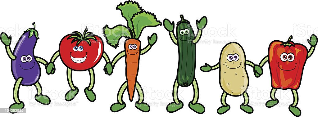 Funny vegetables holding hands, vector royalty-free stock vector art