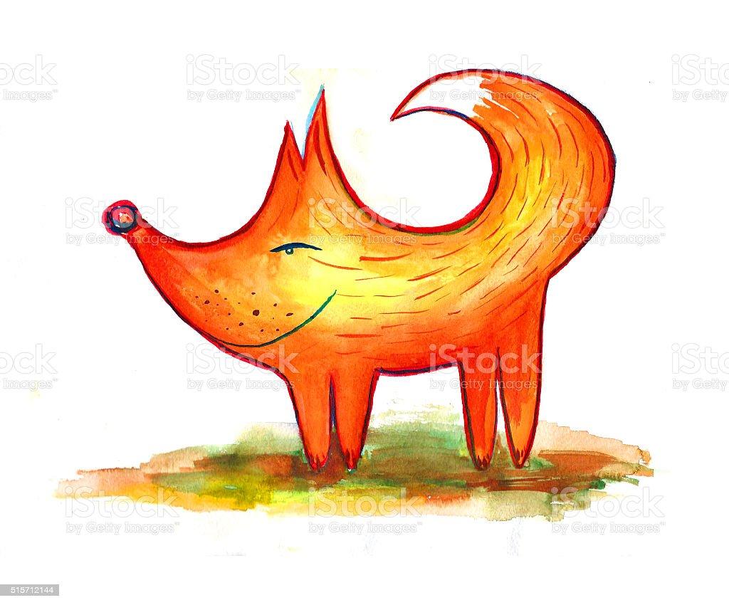 funny watercolor fox vector art illustration