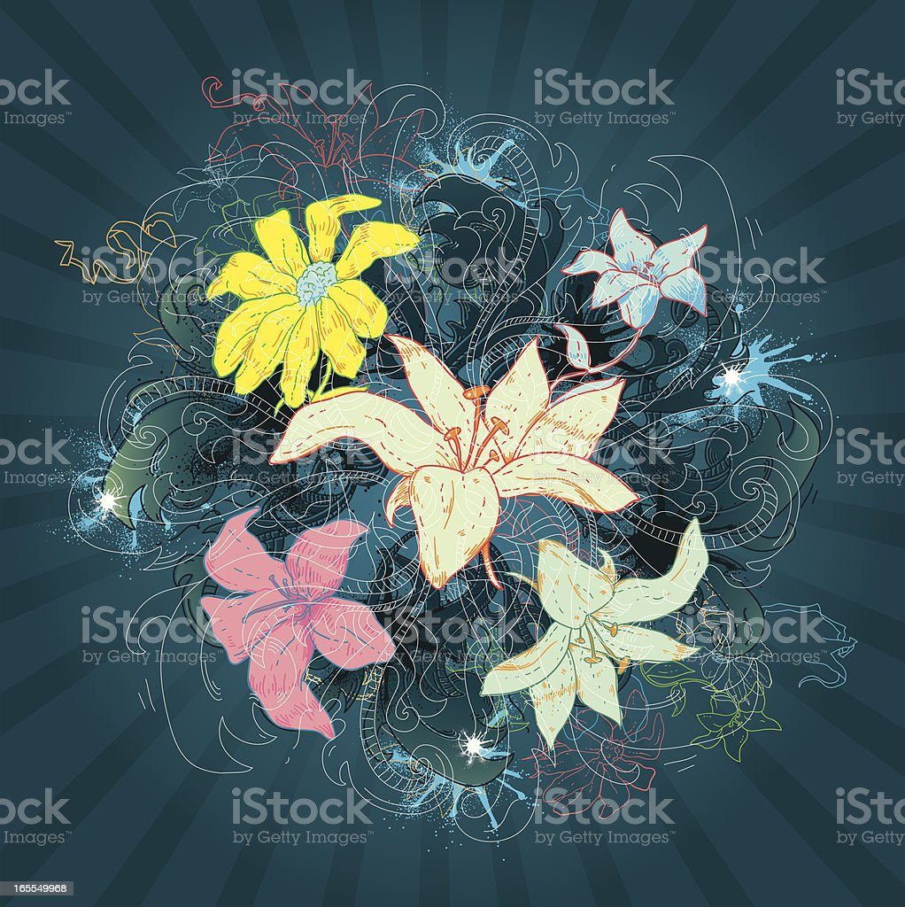 Furiously Floral vector art illustration