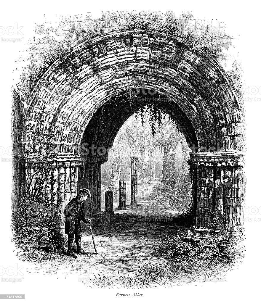 Furness Abbey, Cumbria - Victorian engraving vector art illustration