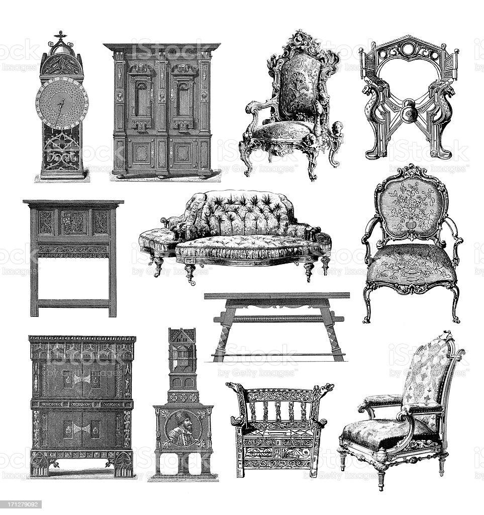 Furniture Set | Vintage Style and Design Illustrations vector art illustration