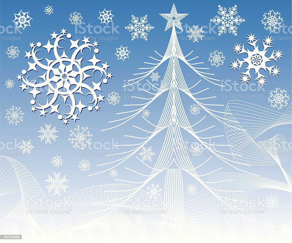 Fur-tree with snowflakes royalty-free stock vector art