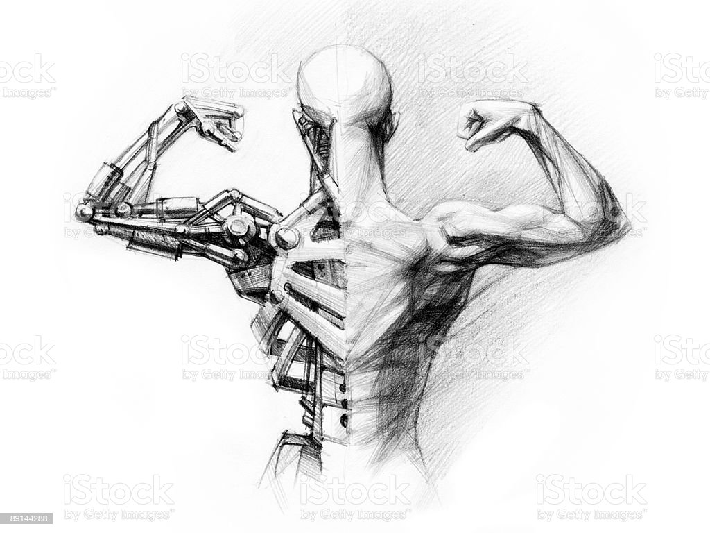 futuristic cyborg vector art illustration