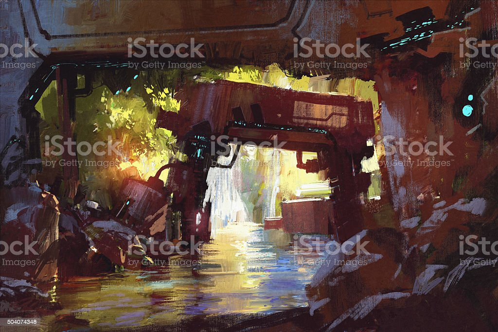 futuristic forest,the old machine in deep forest waterfall vector art illustration