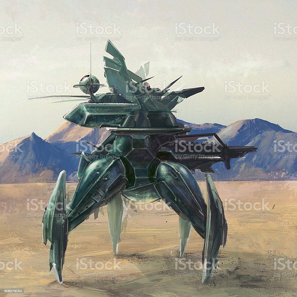 Futuristic four leg robot on lost planet concept art vector art illustration