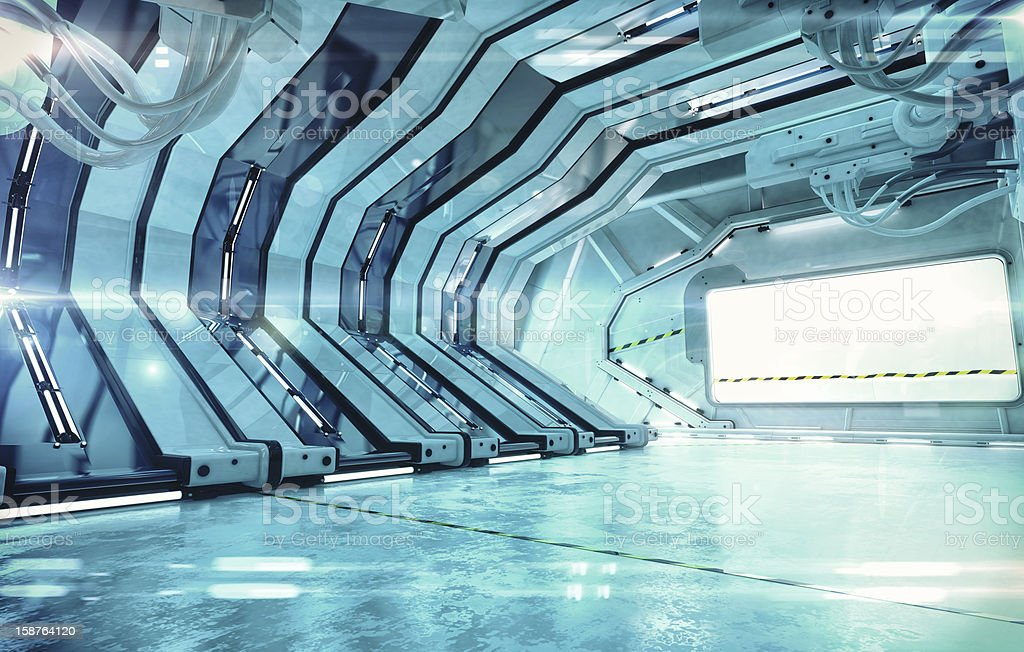 Futuristic hall vector art illustration