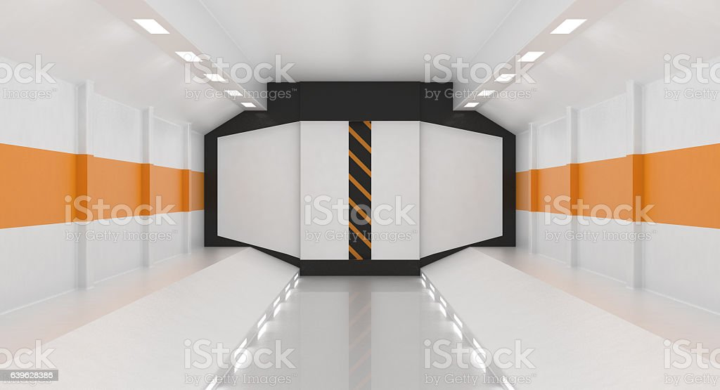 Futuristic Hallway vector art illustration