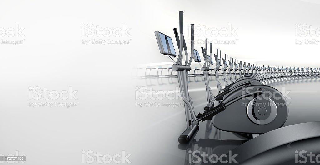 Futuristic modern gym with elliptical cross trainer vector art illustration