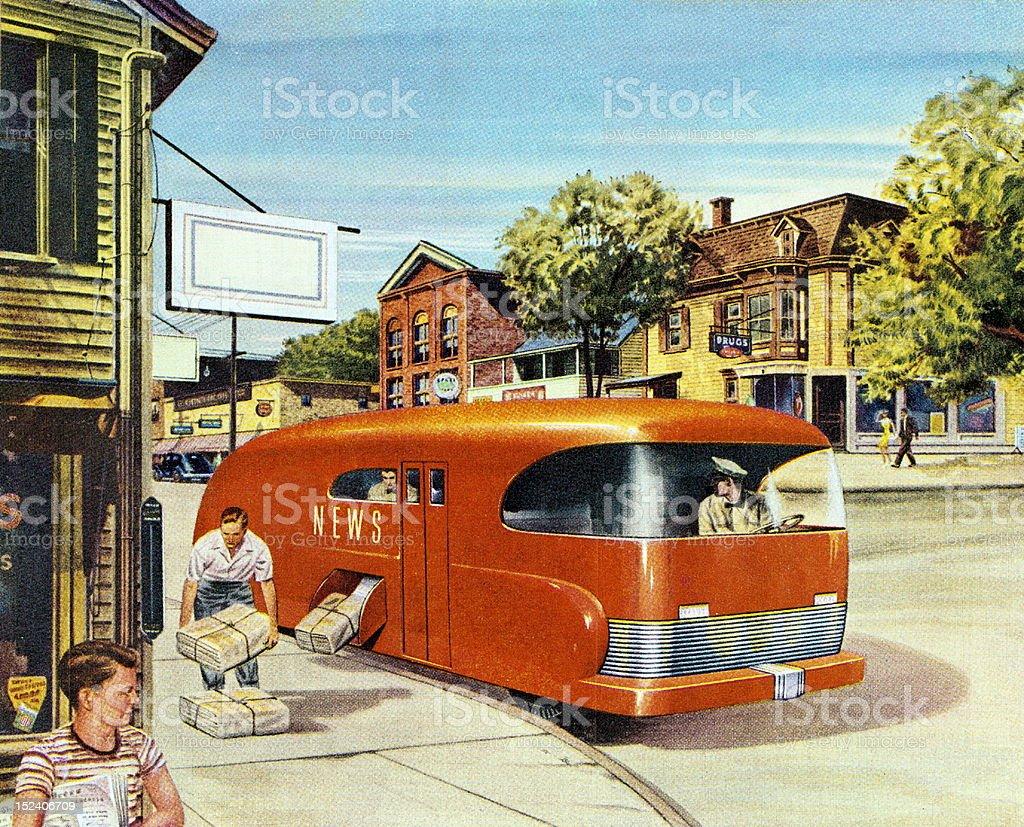 Futuristic Newspaper Truck royalty-free stock vector art