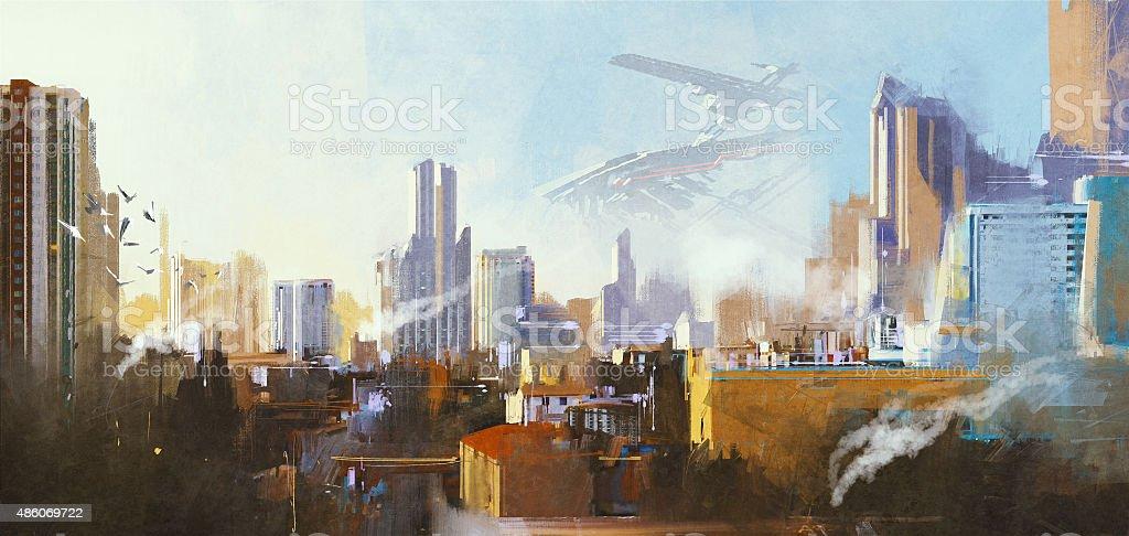 futuristic sci-fi city with skyscraper vector art illustration
