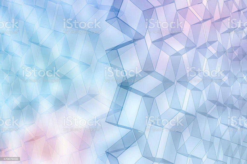 Futuristic transparent grid of geometric shapes on light blue background vector art illustration