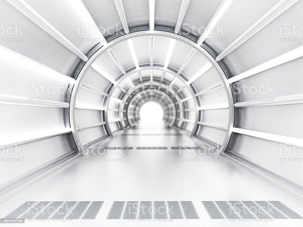 Futuristic tunnel vector art illustration