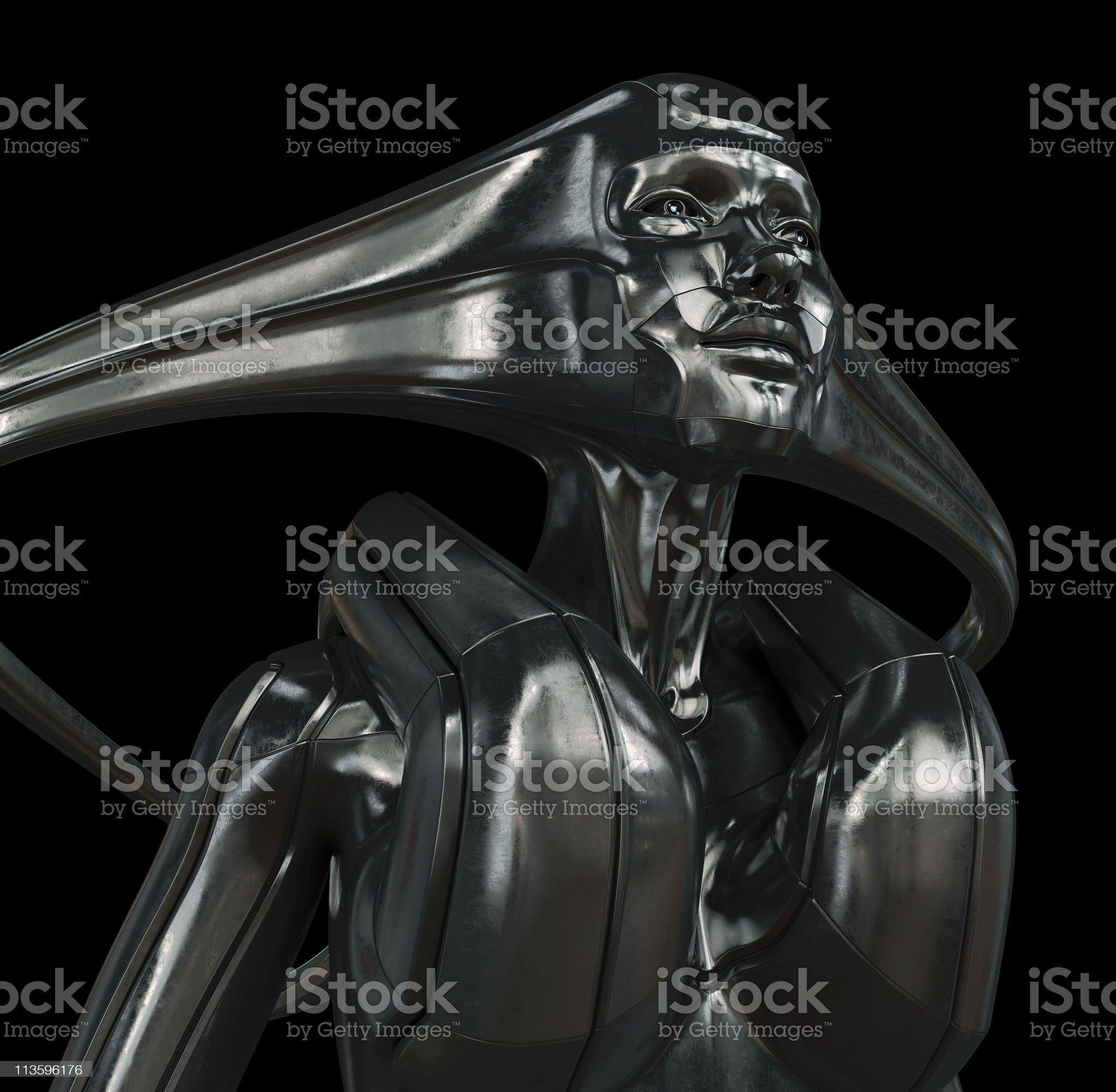 Futuristic woman on black royalty-free stock vector art