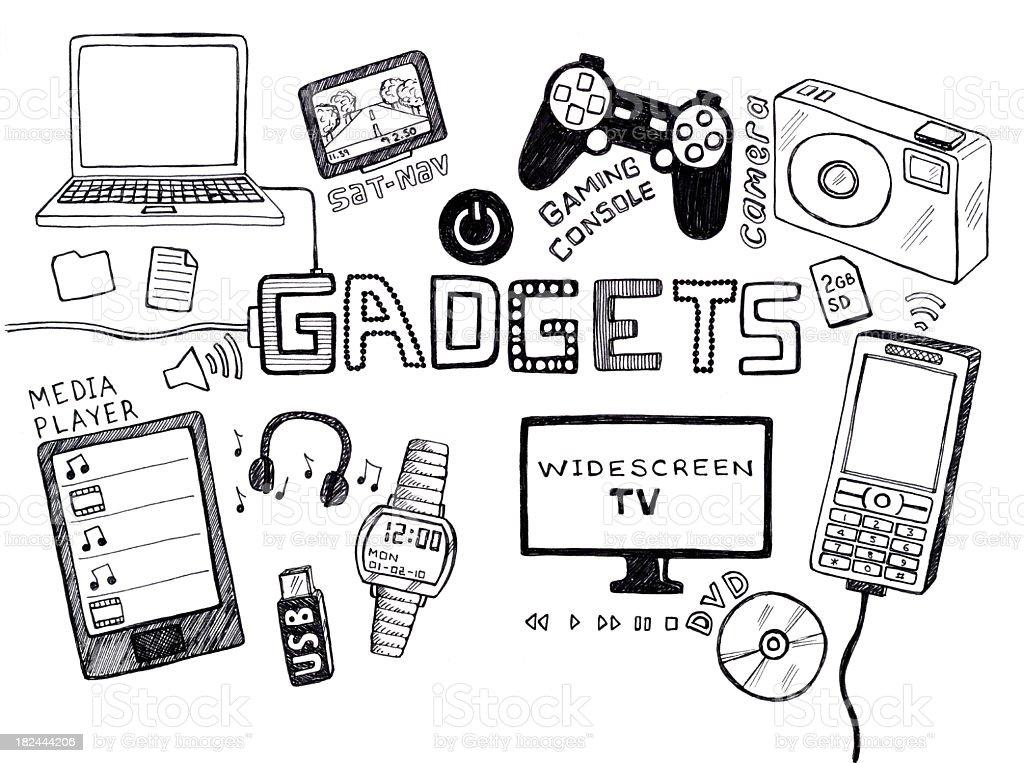 Gadgets doodle vector art illustration