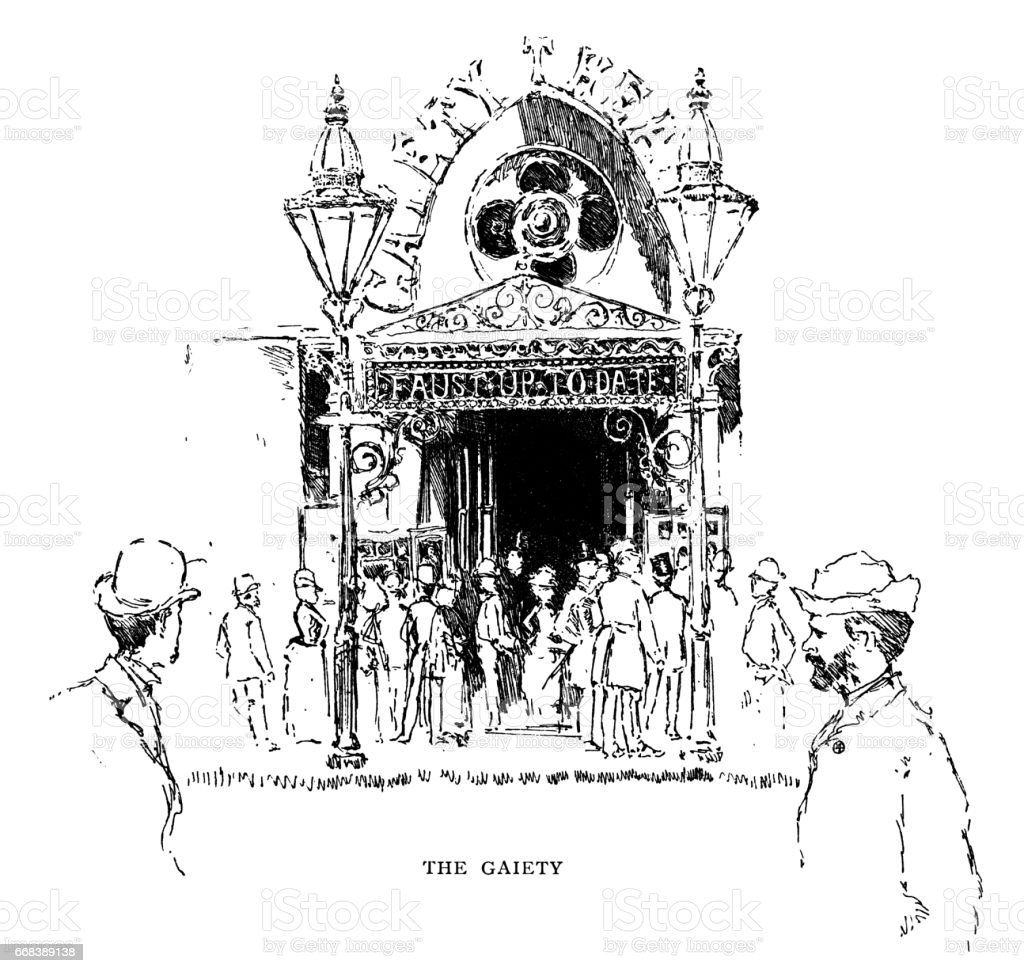 Gaiety Theatre in the Aldwych, London (Victorian illustration) vector art illustration