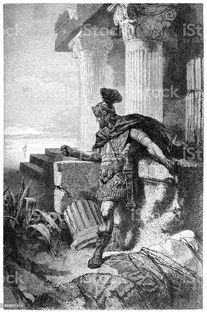 Gaius Marius Among Ruins of Carthage vector art illustration