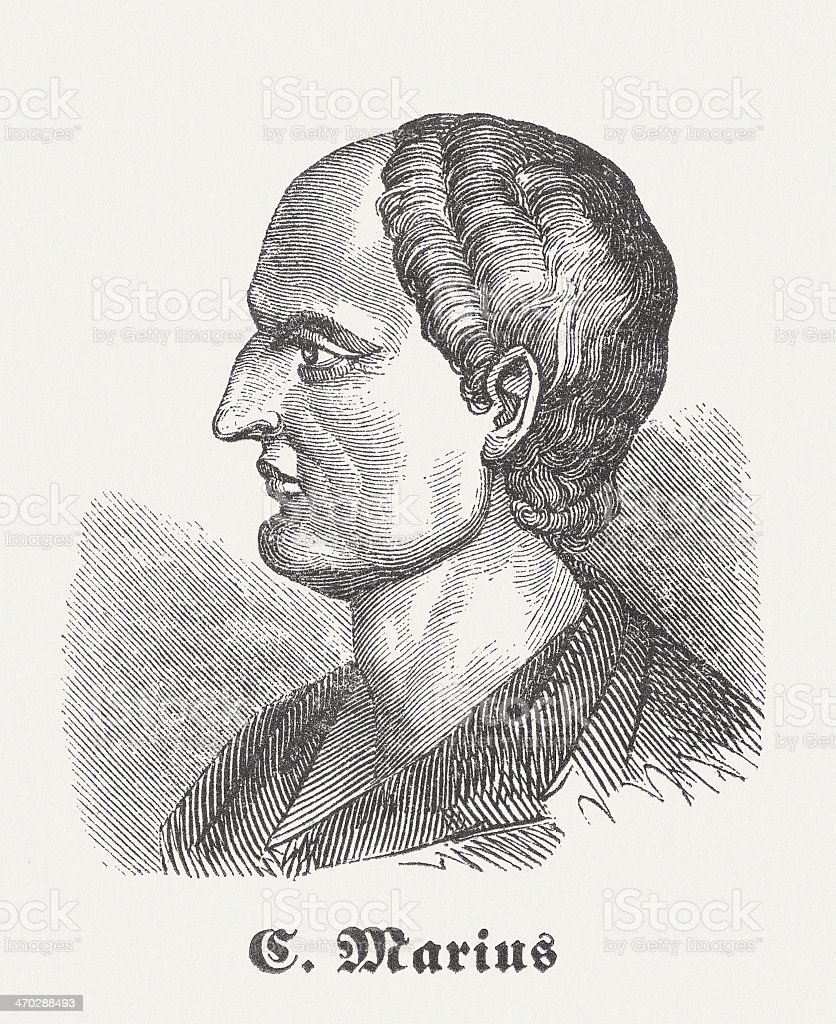 Gaius Marius (157-86 BC), Romn general, wood engraving, published 1864 vector art illustration