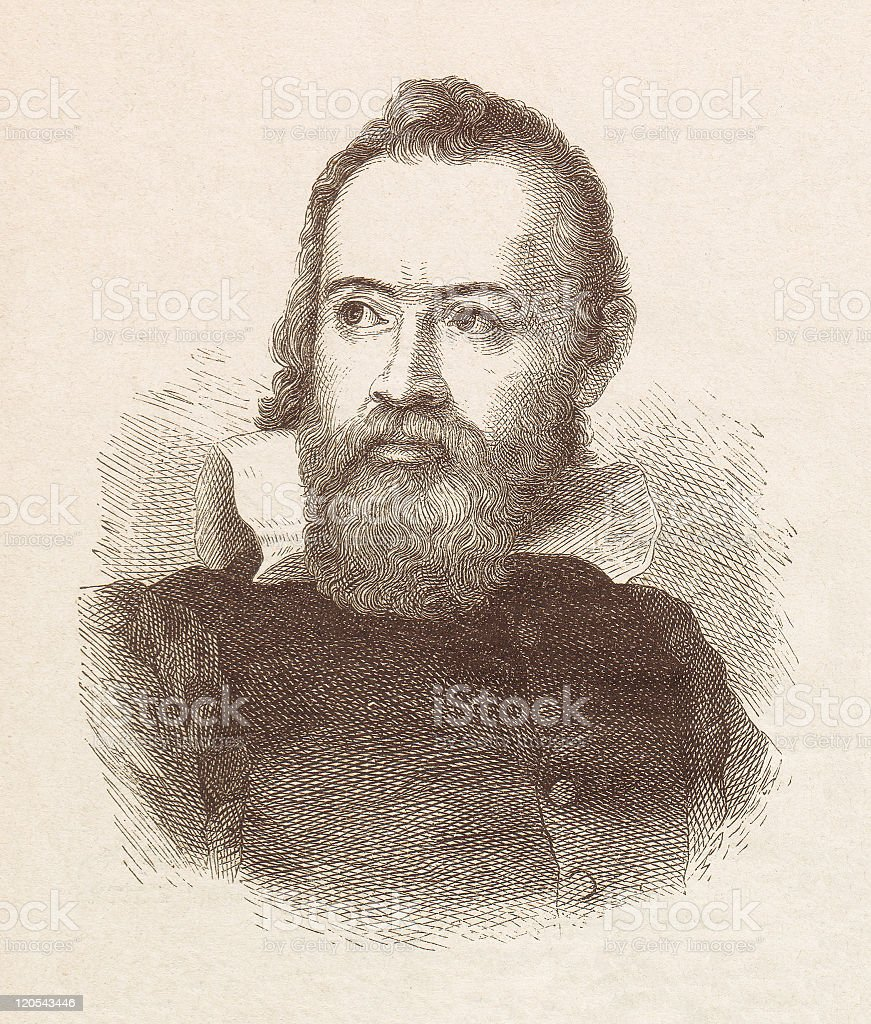 Galileo Galilei (1564-1642), wood engraving, published in 1877 vector art illustration