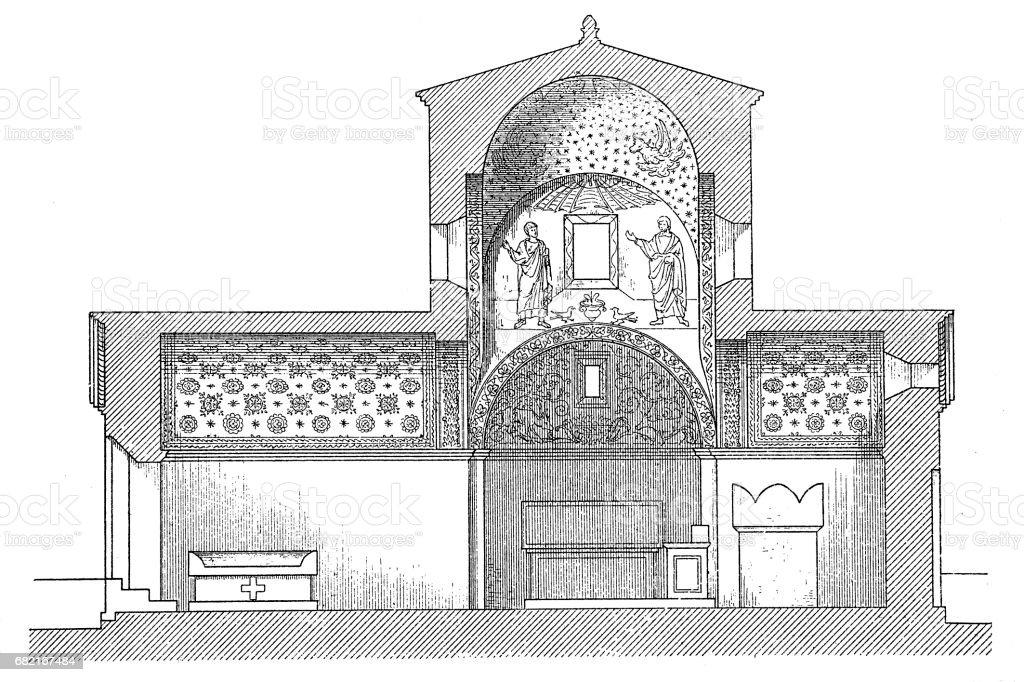 Galla Placidia's tomb in Ravenna vector art illustration