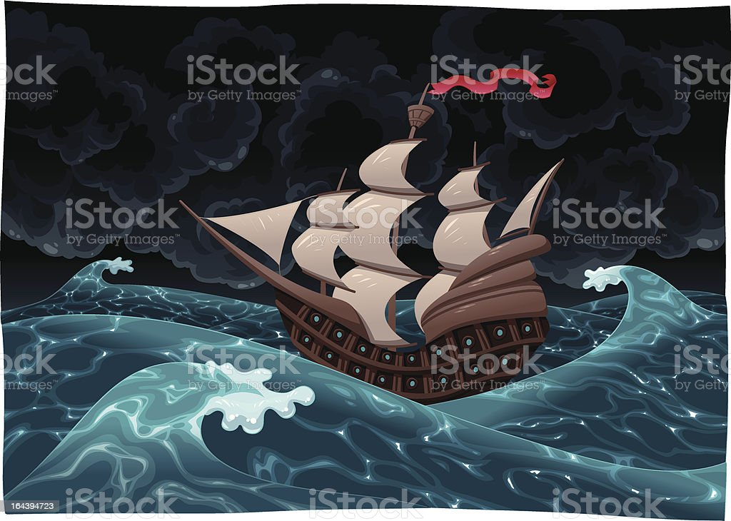 Galleon in the sea with storm. vector art illustration