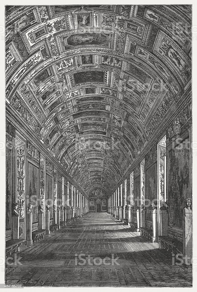 Gallery of Maps, Vatican, published in 1878 vector art illustration