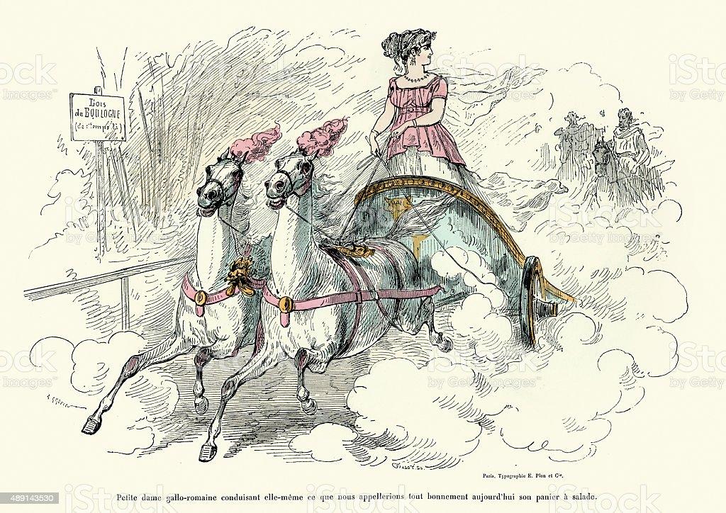 Gallo Roman lady driving a chariot vector art illustration