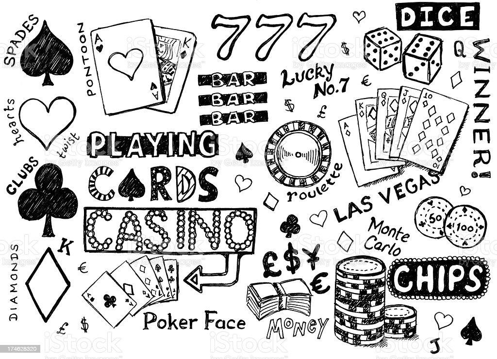 Gambling doodles vector art illustration
